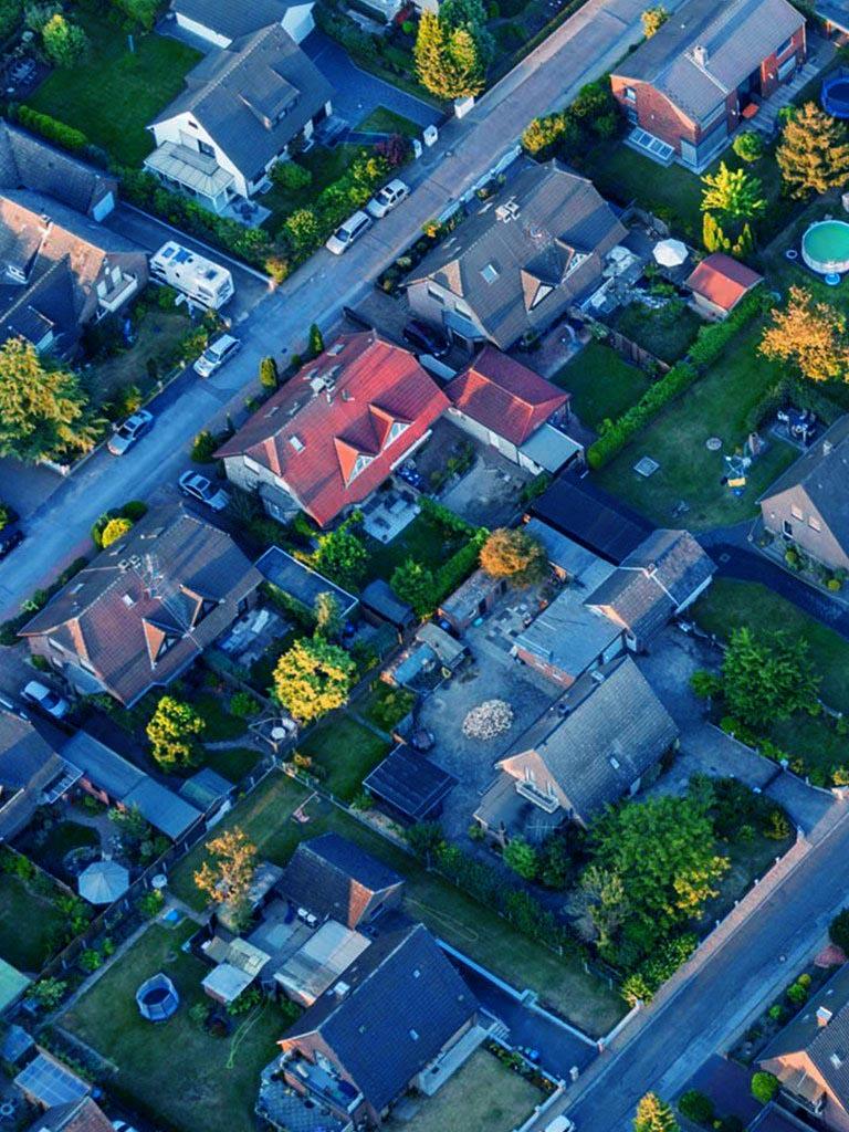 Residential Street Aerial View